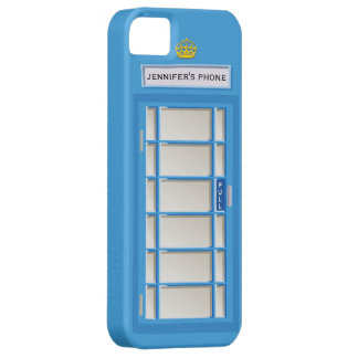 Retro British Telephone Booth Blue Personalized iPhone 5 Covers