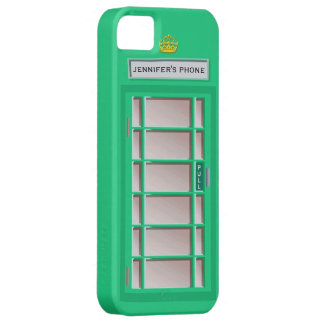 Retro British Telephone Booth Green Personalized iPhone 5 Cases