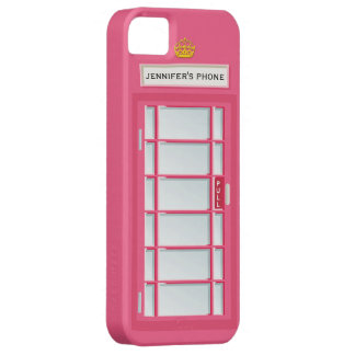 Retro British Telephone Booth Pink Personalized iPhone 5 Case