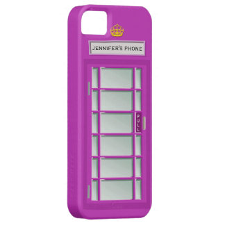 Retro British Telephone Booth Purple Personalized iPhone 5 Cover