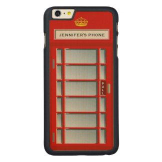 Retro British Telephone Booth Red Pattern Monogram
