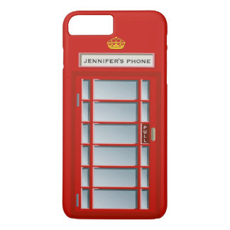 Retro British Telephone Booth Red Pattern Monogram iPhone 7 Plus Case