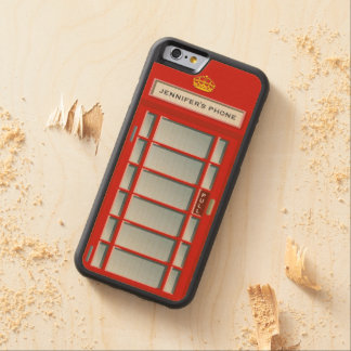 Retro British Telephone Booth Red Personalized Carved® Maple iPhone 6 Bumper