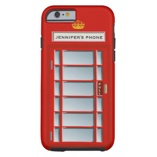 Retro British Telephone Booth Red Personalized Tough iPhone 6 Case