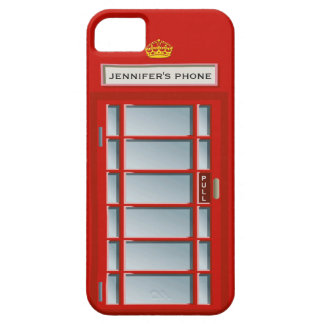 Retro British Telephone Booth Red Personalized iPhone 5 Cover