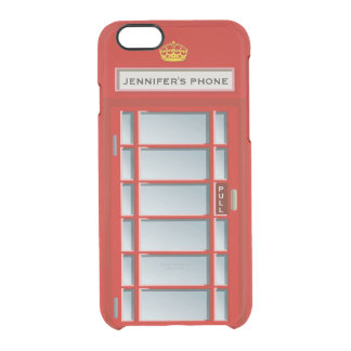 Retro British Telephone Booth Red Personalized Clear iPhone 6/6S Case