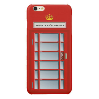 Retro British Telephone Booth Red Personalized Glossy iPhone 6 Plus Case