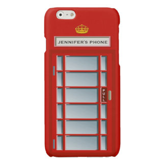 Retro British Telephone Booth Red Personalized Glossy iPhone 6 Case