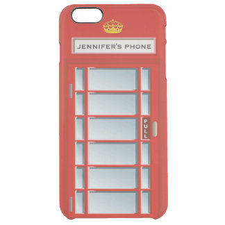 Retro British Telephone Booth Red Personalized Uncommon Clearly™ Deflector iPhone 6 Plus Case