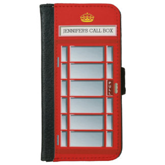 Retro British Telephone Booth Red Personalized iPhone 6 Wallet Case