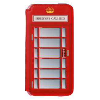 Retro British Telephone Booth Red Personalized Incipio Watson™ iPhone 6 Wallet Case
