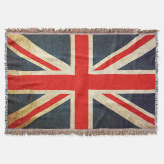 Retro British Union Jack Flag Throw Blanket