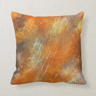 Retro Bronze Abstract Flames Throw Pillow