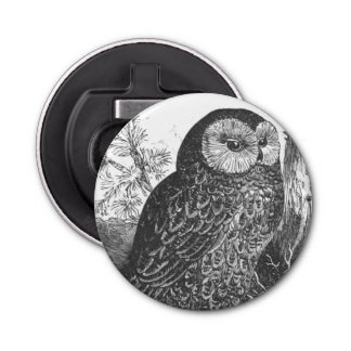 Retro brooding owl drawing button bottle opener