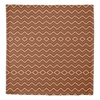 Retro Brown And Peach Chevron Pattern Zigzag Duvet Cover