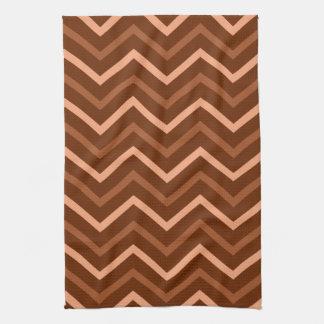 Retro Brown And Peach Chevron Pattern Zigzag Kitchen Towel