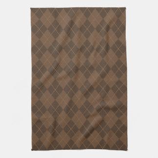 Retro Brown Argyle Kitchen Towel