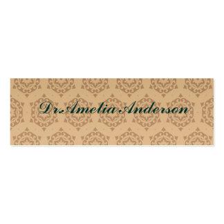 retro,brown,beige,floral,70's, pattern,vintage,tre pack of skinny business cards