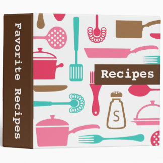 Retro brown pink aqua kitchen recipe organizer binder