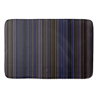 Retro brown purple blue stripe bathmat