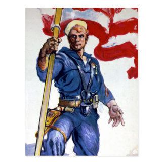 Retro Buff Navy Sailor Patriotic Fighting Man Postcard