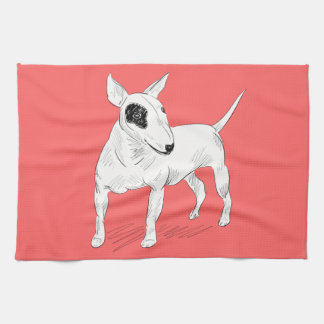 Retro Bull Terrier Doodle on Peach Background Towel