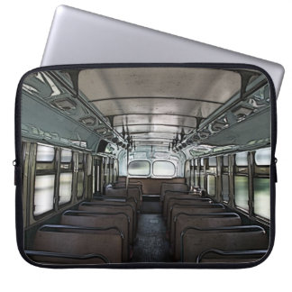 retro bus interior laptop sleeve