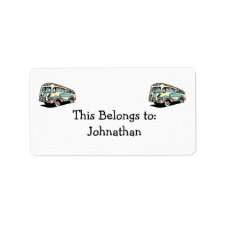 retro bus motor coach custom address label
