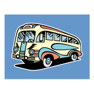 retro bus motor coach post cards