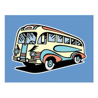retro bus motor coach postcard