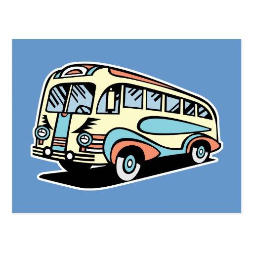 retro bus motor coach post cards
