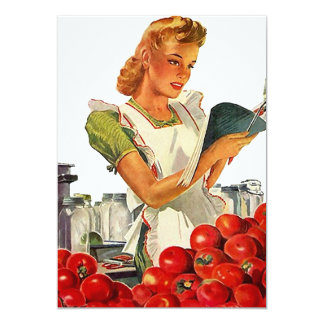 """Retro Busy Kitchen Home Canning Party Blank 5x7 5"""" X 7"""" Invitation Card"""