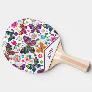 Retro Butterflies & Flowers Ping Pong Paddle
