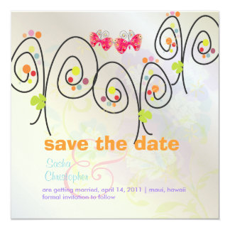 "Retro Butterflies + Spring Bouquet/ Save the Date 5.25"" Square Invitation Card"