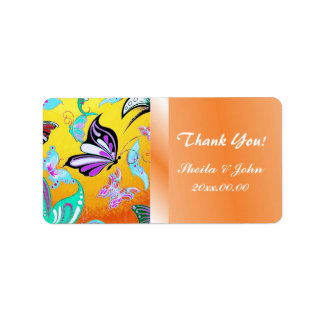 Retro Butterflies Thank You Label