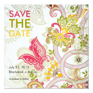 Retro Butterfly Floral Save The Date Card