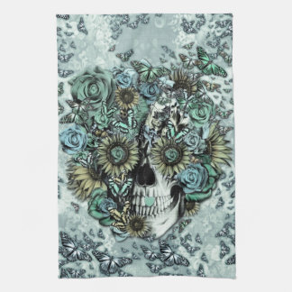 Retro butterfly rose skull kitchen towel
