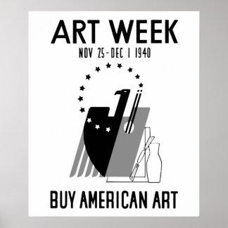 Retro Buy American Art black and white Print