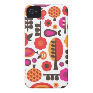 Rétro caisse de mûre de motif de papillon de fleur coque iPhone 4 Case-Mate