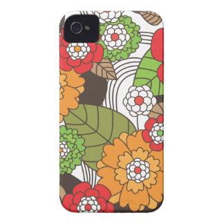 Rétro caisse florale de mûre de motif d'amusement coques Case-Mate iPhone 4
