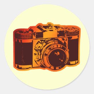 retro camera classic round sticker