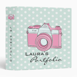 Retro Camera Photography Polka Dots Portfolio 3 Ring Binders