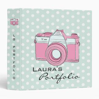 Retro Camera Photography Polka Dots Portfolio Binder