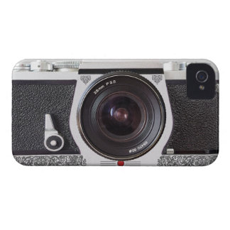 Retro Camera With Scroll On Chrome iPhone 4 Case