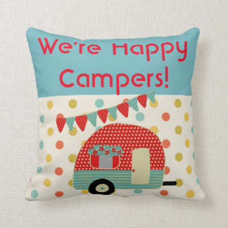 Retro Camper Camping Pillow - We Are Happy Campers