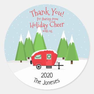 Retro Camper Christmas Classic Round Sticker