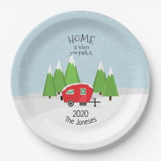Retro Camper Christmas Paper Plate