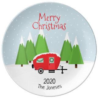 Retro Camper Christmas Plate
