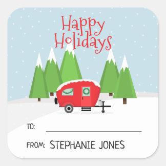 Retro Camper Christmas Square Sticker