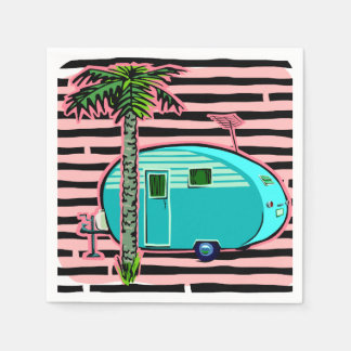 Retro Camper in Pin and Turquoise Disposable Napkin